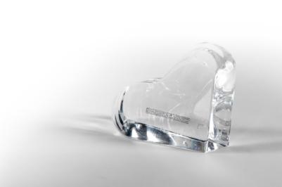 Coeur en verre solide fabriqué à l'atelier de verre Welmo