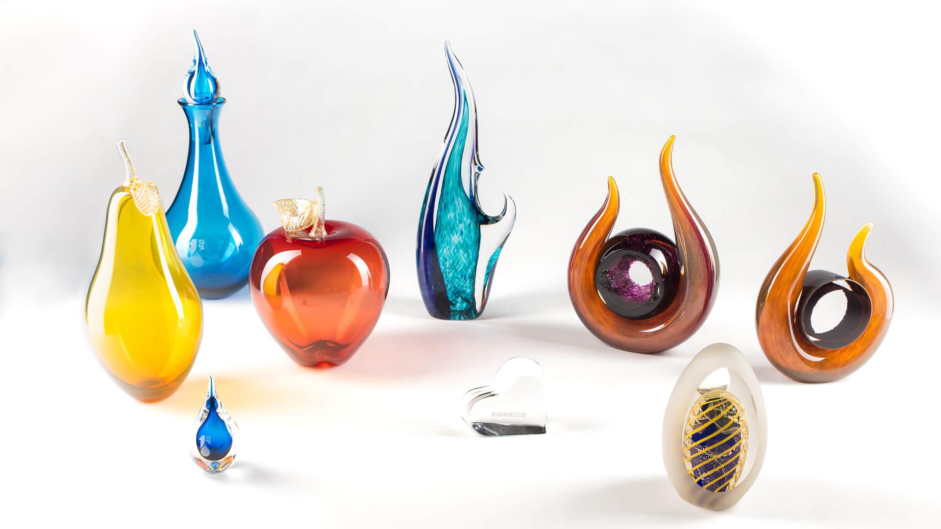 Cadeaux corporatifs et trophées en verre soufflé et solide fabriqués par l'Atelier de verre Welmo
