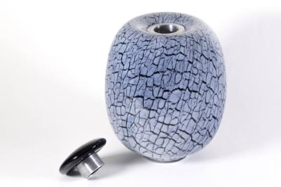 Urne funéraire en verre soufflé fabriqué par l'atelier de verre Welmo