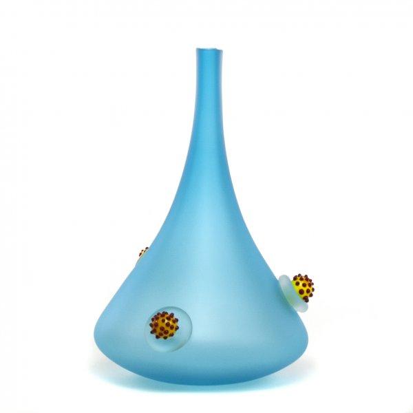 Vase en verre soufflé-Caroline Ouellette-Montréal-POUSSE avec perles- aqua