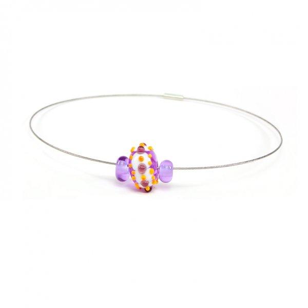 collier BABOUCHKA en perles de verre lavende et jaune, Caroline Ouellette