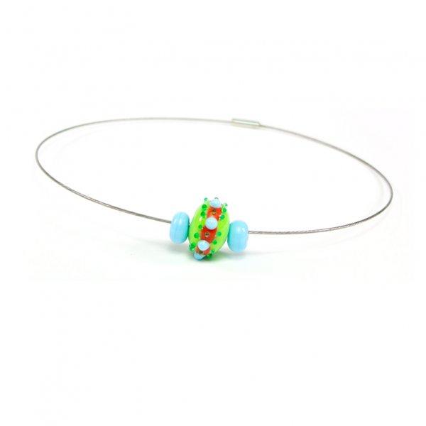 collier BABOUCHKA en perles de verre lime et turquoise, Caroline Ouellette