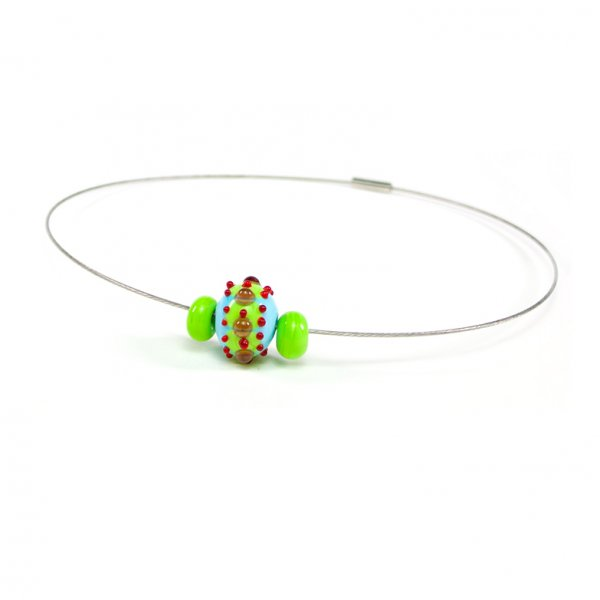 collier BABOUCHKA en perles de verre turquoise et lime, Caroline Ouellette