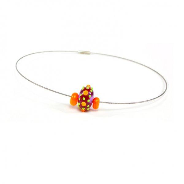 collier BABOUCHKA en perles de verre lavende et orange, Caroline Ouellette