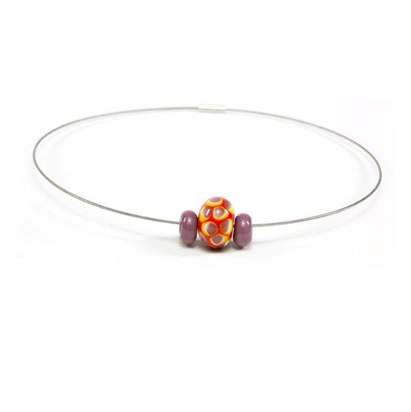 collier BLOUP-BLOUP en perle de verre corail, Caroline Ouellette