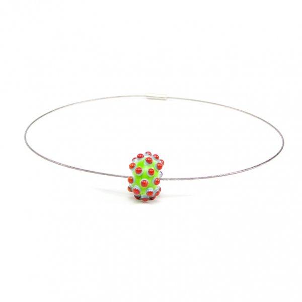 collier BLOUP-BLOUP en perle de verre lime, Caroline Ouellette