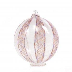 BOULE en verre soufflé blanche rouge et violette, Patrick Primeau