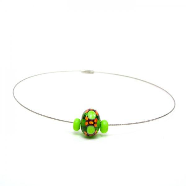 collier BABOUCHKA en perles de verre vert et lime, Caroline Ouellette