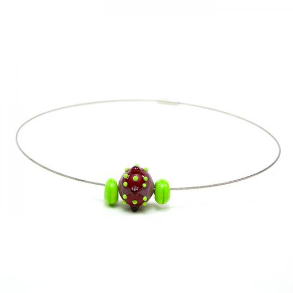 collier BABOUCHKA en perles de verre violet et lime, Caroline Ouellette