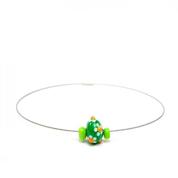 collier MARGUERITE en perles de verre verte et lime, Caroline Ouellette