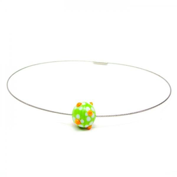collier MARGUERITE en perle de verre lime, Caroline Ouellette