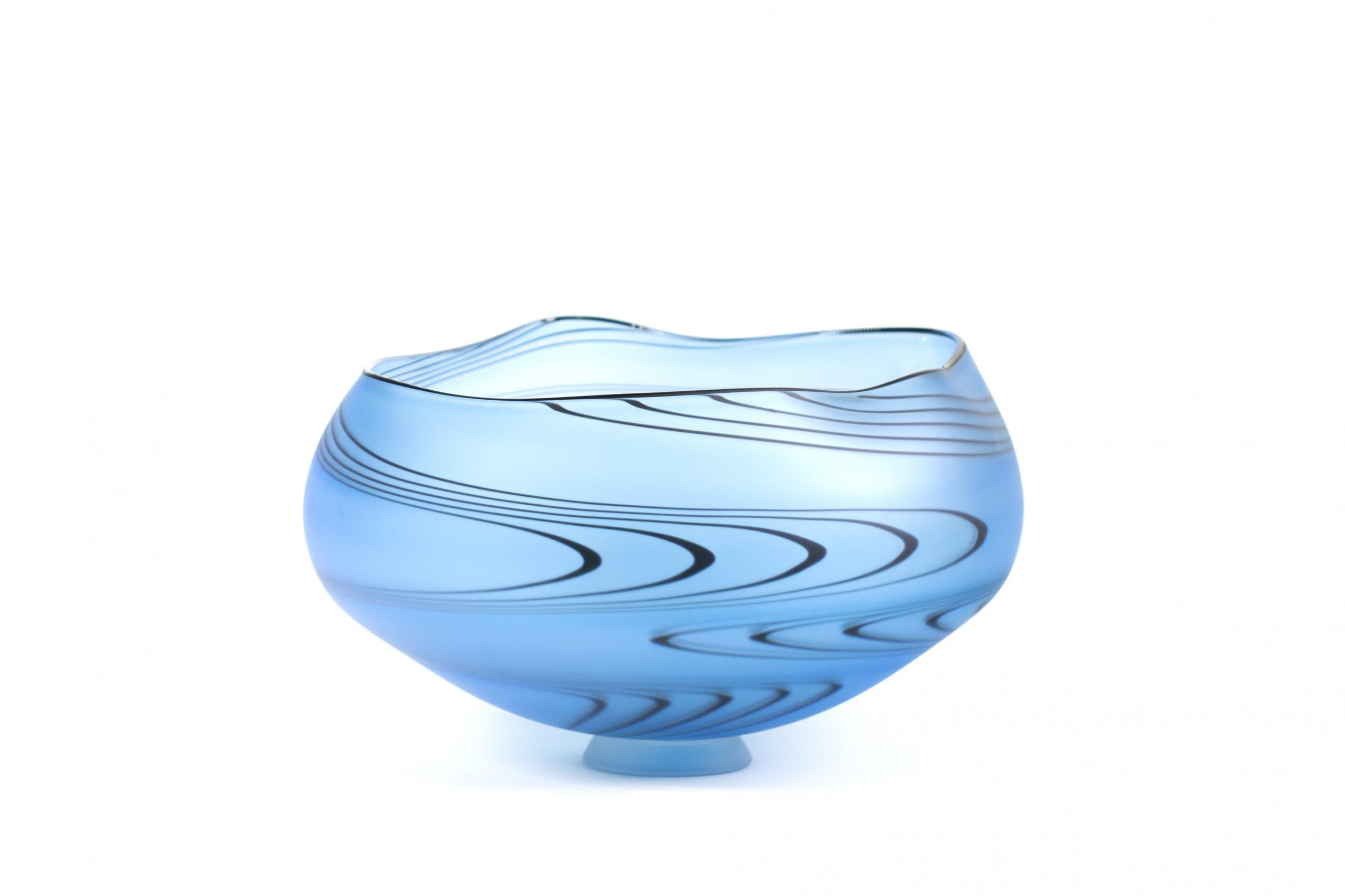 bol ZIG ZAG en verre soufflé aqua. Patrick Primeau