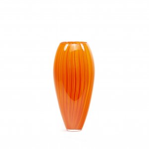 vase PINCEAU en verre soufflé rouge/jaune, Patrick Primeau