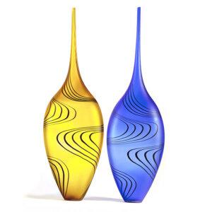 Vases en verre soufflé ZIG ZAG long. Patrick Primeau