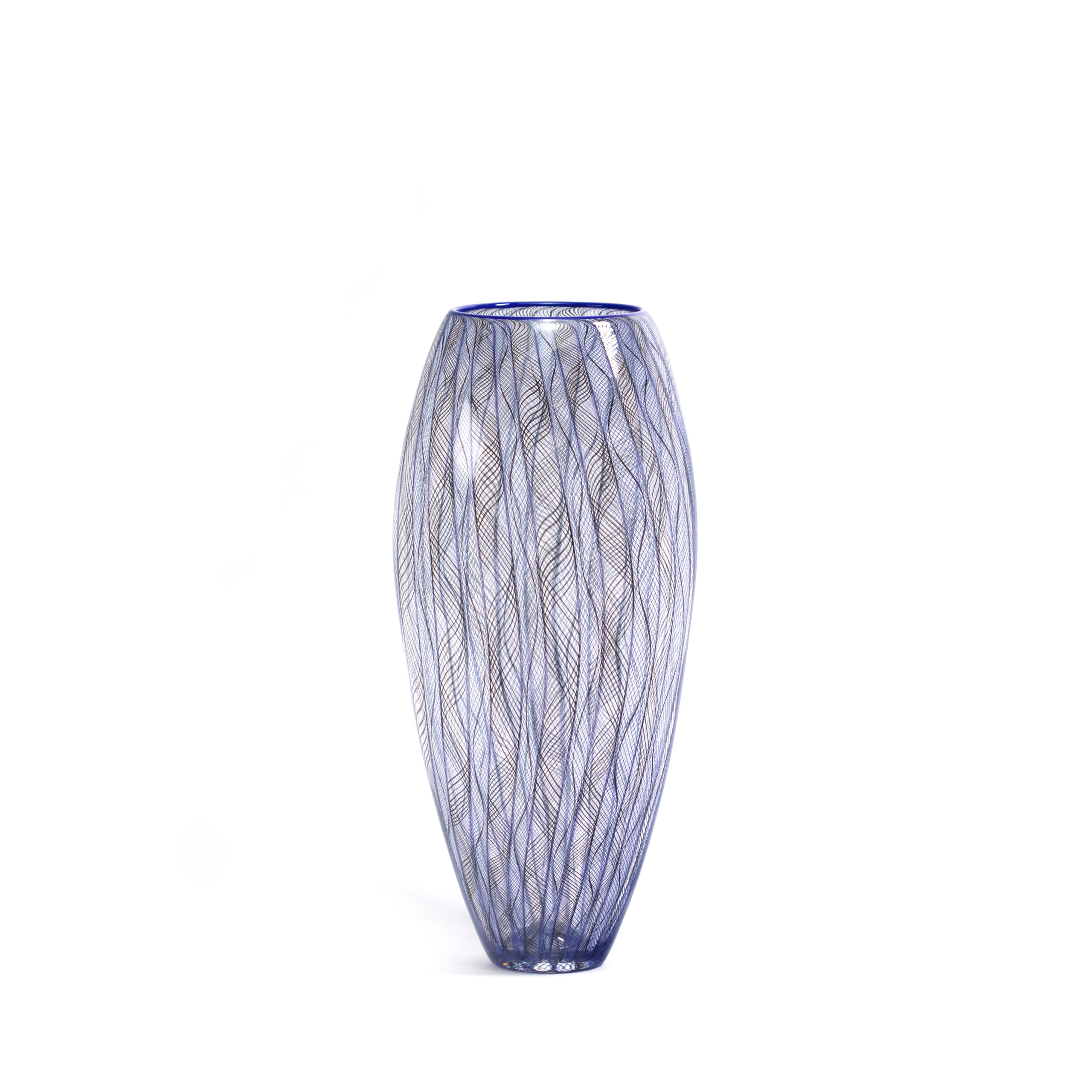 vase FILIGRANE en verre soufflé bleu et noir. Patrick Pirmeau