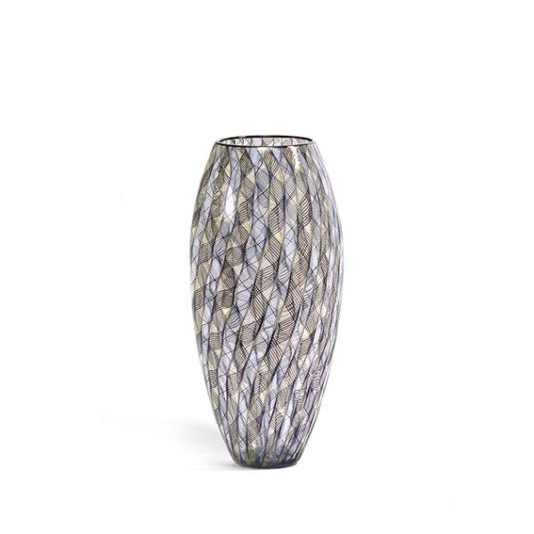 vase FILIGRANE en verre soufflé noir, bleu et jaune. Patrick Primeau