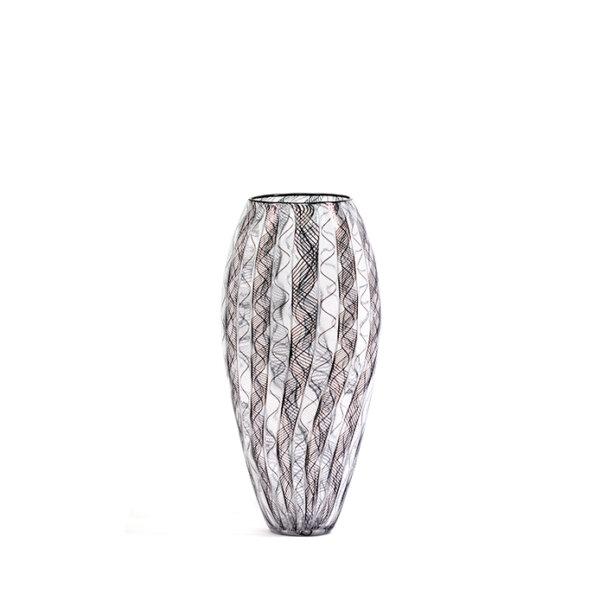 vase FILIGRANE en verre soufflé noir et blanc. Patrick Primeau